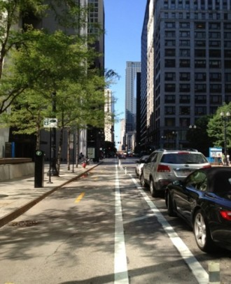 2nd Ave will look nearly identical to Dearborn Street in Chicago. Image from SDOT.