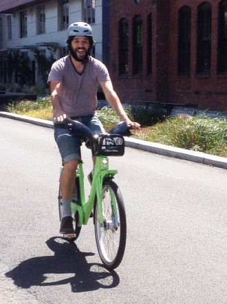 Pronto Executive Director Holly Houser took this photo of me trying out the Pronto prototype.