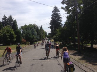 At Sunday Parkways. Residential streets packed with people of all ages and abilities