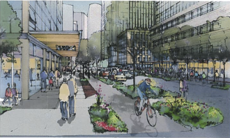 7th Ave protected bike lane concept from a 2012 presentation to the City Council