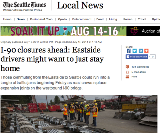 Screenshot from Seattle Times story than ran on the front page