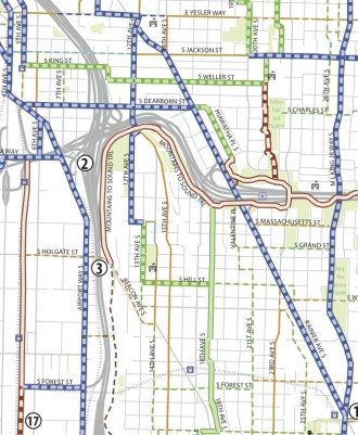 Blue = Protected bike lane, green = neighborhood greenway, red = trail