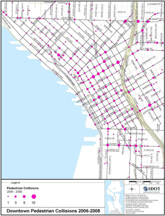 CHS posted this 2010 map showing that 9th and James is one of the most dangerous intersections in central Seattle