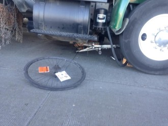 "Image from SPD. You can see the man's ""Give Cyclists Three Feet"" sticker in his spokes."