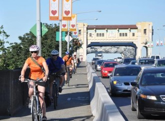 The Burrard Bridge bike lanes. Image from the Vancouver Mayor's Office