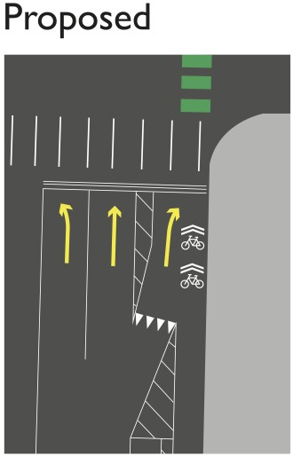 How shared turn lanes will work. Image from SDOT