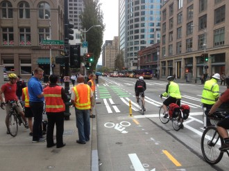 Volunteer ambassadors and SDOT staff observe and inform users