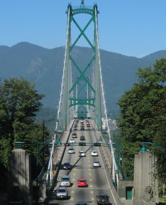 Example of a bridge (Lion's Gate in Vancouver) with a reversible center lane. Image: Bobanny via Wikipedia
