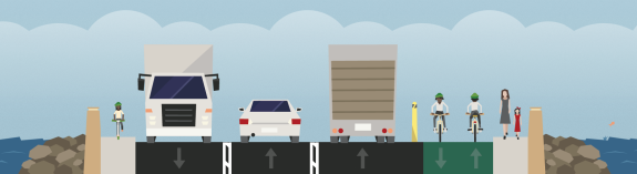 The center lane is reversible. See design and experiment yourself using Streetmix