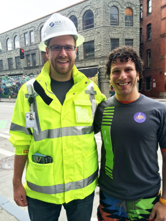 Brandon with SDOT's Ross McFarland. Both were helping people understand the new protected bike lanes on 2nd Ave. Image from Brandon.