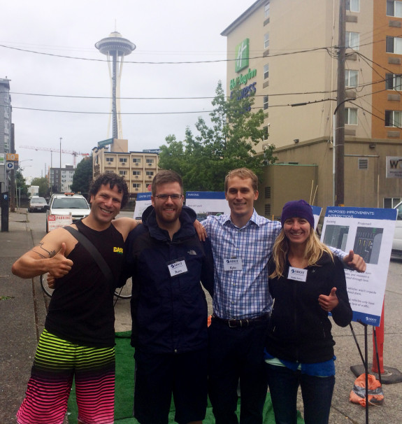 Brandon with SDOT staff at the Dexter on-street open house. Image from Brandon.
