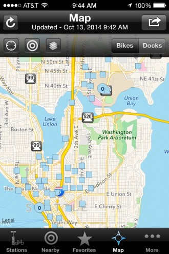 The Spotcycle app shows that all docks are locked as of 9am
