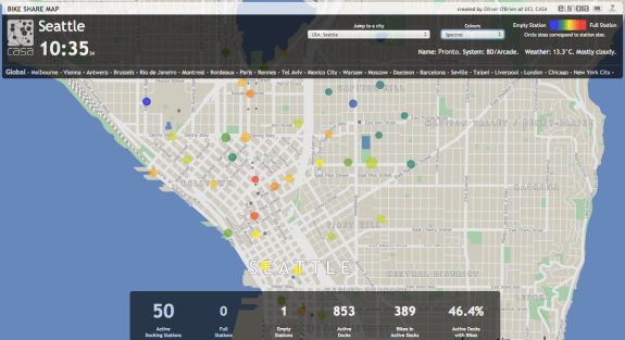 From Oliver O'Brien's bike share visualizer. Screenshot taken at 10:35 a.m.