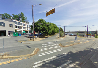 This crossing will become a raised crosswalk soon, further signaling to people driving they have to yield. Image from Google Street View