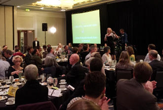 WSDOT Director Lynn Peterson speaks at the 2014 WA Bikes Gala and Auction