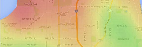Bike commute map, from WalkScore