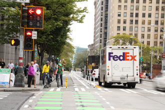 As this SDOT image shows, a complete street can meet all needs, from safety to deliveries to parking.