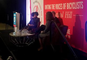 Dr. Aletha Maybank (left) talks with Former Minneapolis Mayor RT Rybak and Culver City Mayor Meghan Sahli-Wells