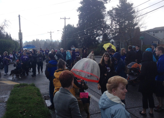 One year after the collision, people held a walk and vigil demanding safer streets