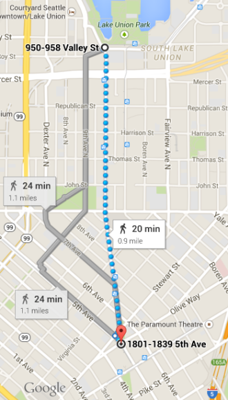 Westlake is the most direct route from Lake Union Park to downtown.