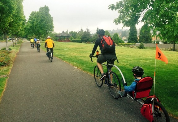 Brice Maryman and son helped pedal the Beacon Hill bike train