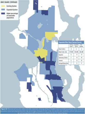 "A plan to expand Pronto aims to reach ""vulnerable"" populations. Map from Seattle's pending TIGER grant application."