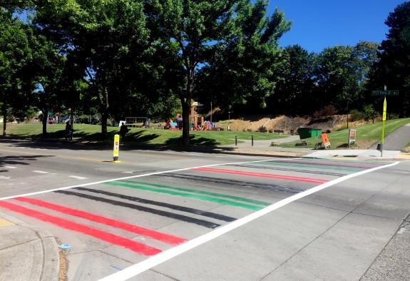 A Pan-African flag crosswalk on MLK