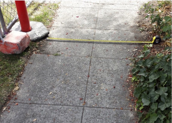 This sidewalk detour is less than 4 feet wide, which is the required width for sidewalks.