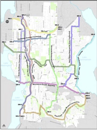 Top bike route priorities identified in the 2009 plan.