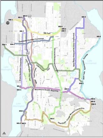 Top bike route priorities identified in the 2009 plan.