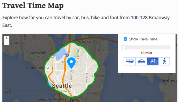 Screenshot of the ten-minute bikeshed around Capitol Hill Station, from Walk Score.