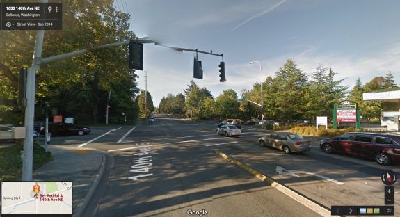 Looking south on 140th Ave NE at Bel-Red Rd, from Google Street View.