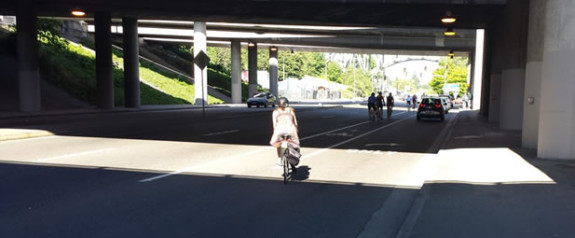 This terrible shifting bike lane will get a badly-needed upgrade. Photo from SDOT.