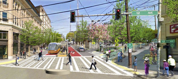 Better walking, biking and transit. Why you should vote YES on Prop 1 to Move Seattle. Image: Madison Bus Rapid Transit concept.