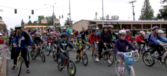 A small part of a giant bike train to Bryant Elementary