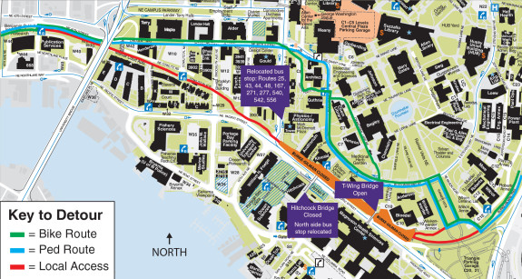 UPDATED 10/12 with new map from UW showing which bridges are open.
