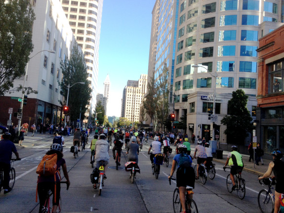 A memorial bike ride for Sher Kung took over 2nd Ave September, 2014