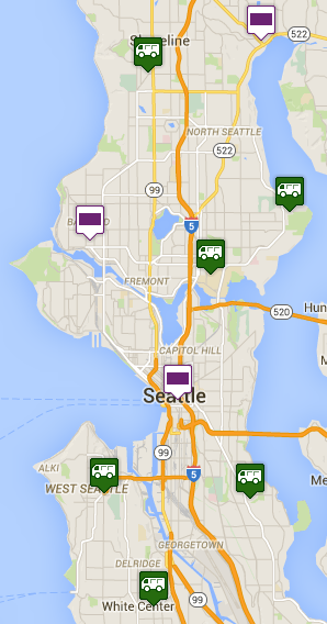 Purple boxes are 24-hours, green trucks are open 10-5 Monday, 10-8 Tuesday. See the full drop box map here.