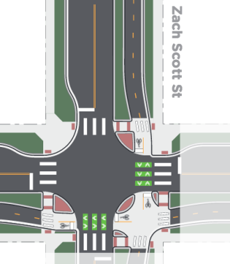 """Example design in Austen, via Alta Planning + Design's """"Evolution of the Protected Intersection."""""""