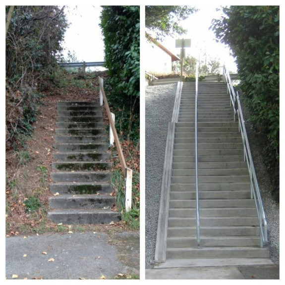 S Hinds St/York Rd S stairway. Before and after photos from SDOT.