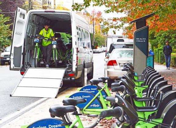 Staff rebalance bikes. Photo from Pronto.