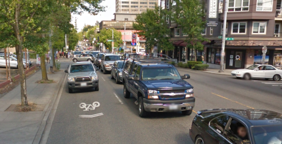 Sharrow on NE 45th Street in the U District. Image: Google Street View