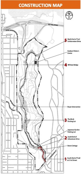 A construction map showing the area completed