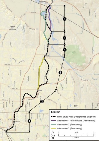 The trail may be constructed in segments. Map from a 2013 presentation to the Council