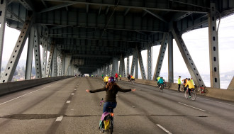 Emerald City Bike Ride 2016 on the I-5 Express Lanes.