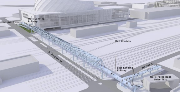 Concept art for the proposed Holgate bike/walk bridge. Images from a presentation to the City Council's Sustainability and Transportation Committee