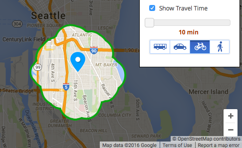 Estimated bikeshed map from Walk Score.