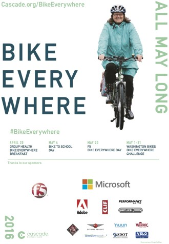 Hey, look! It's Seattle Neighborhood Greenways Executive Director Cathy Tuttle on the Bike Everywhere poster.