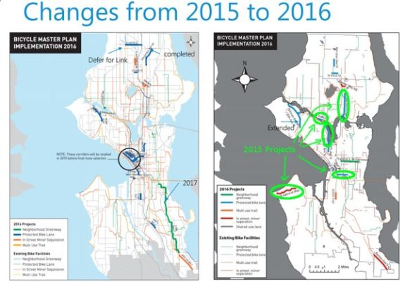 Slide from SDOT presentation to Transpo Committee, modified by @NEGreenways to show delayed 2015 projects