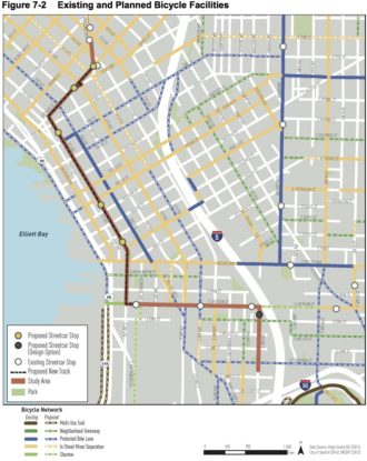 The proposed streetcar line imposed on a map of proposed downtown bike lanes.